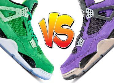 Air Jordan 4 Wahlburger vs Air Jordan 4 Purple Travis Scott F&F